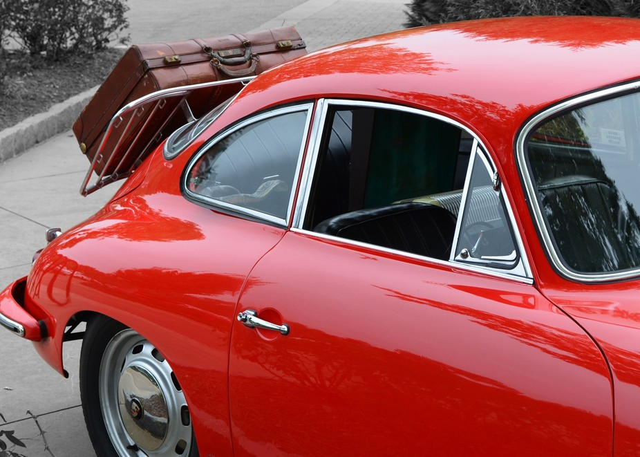 Vintage candy apple red porsche