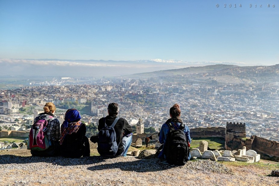 The best place to observe the Old Medina of Fes in Morocco is from the Tomb of the Merinides, hig...