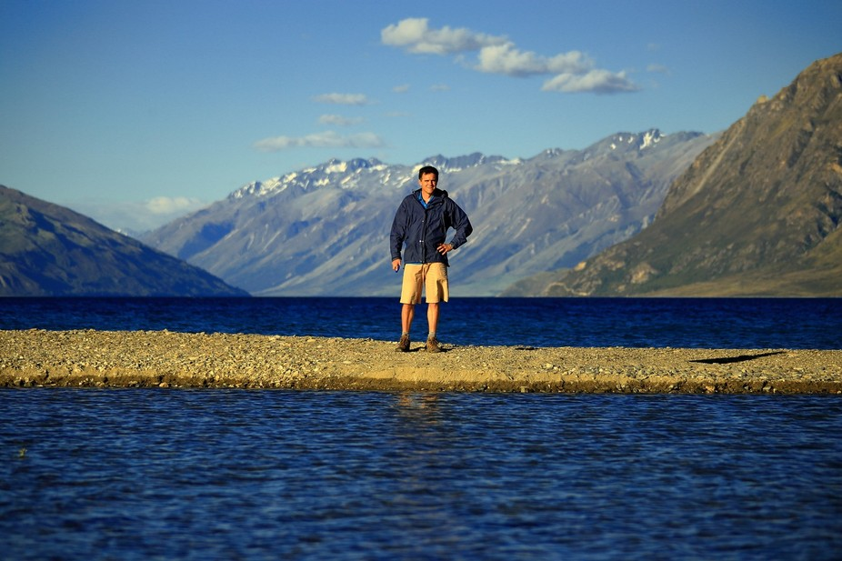 On a road trip in the South Island of New Zealand. A narrow finger of gravel pushing out into the...