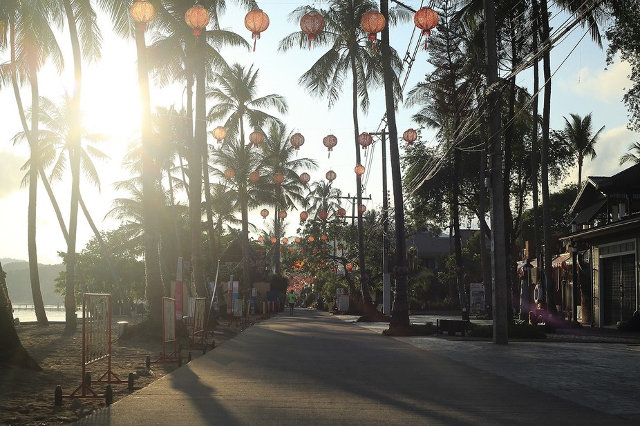 This photo has been taken on a fine morning at the fisherman\'s village, Koh Samui.