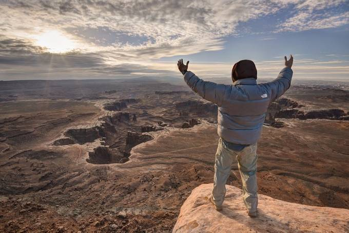 Self Portrait Enjoying the View Over the White Rim by Sierralara - Spectacular Cliffs Photo Contest