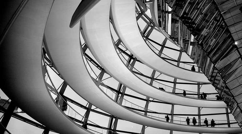 Inside the dome of the Reichstag, Berlin. Taken at night.