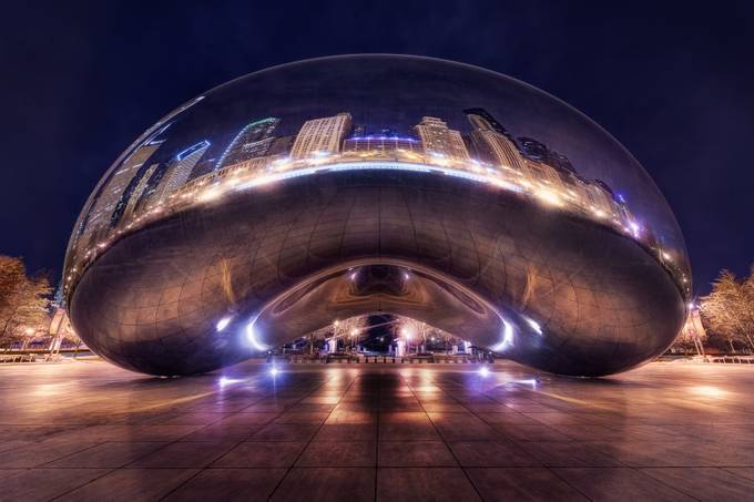 Chicago Bean At Night by jacobsurland