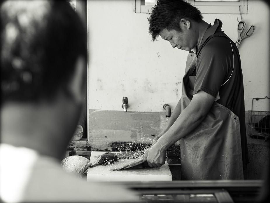 Freshly prepared fish at an idyllic family-run restaurant along the beautiful seaside in Taiwan.