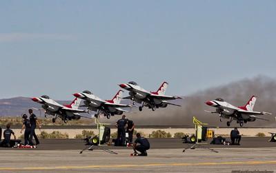 The Thunderbirds, taking off.