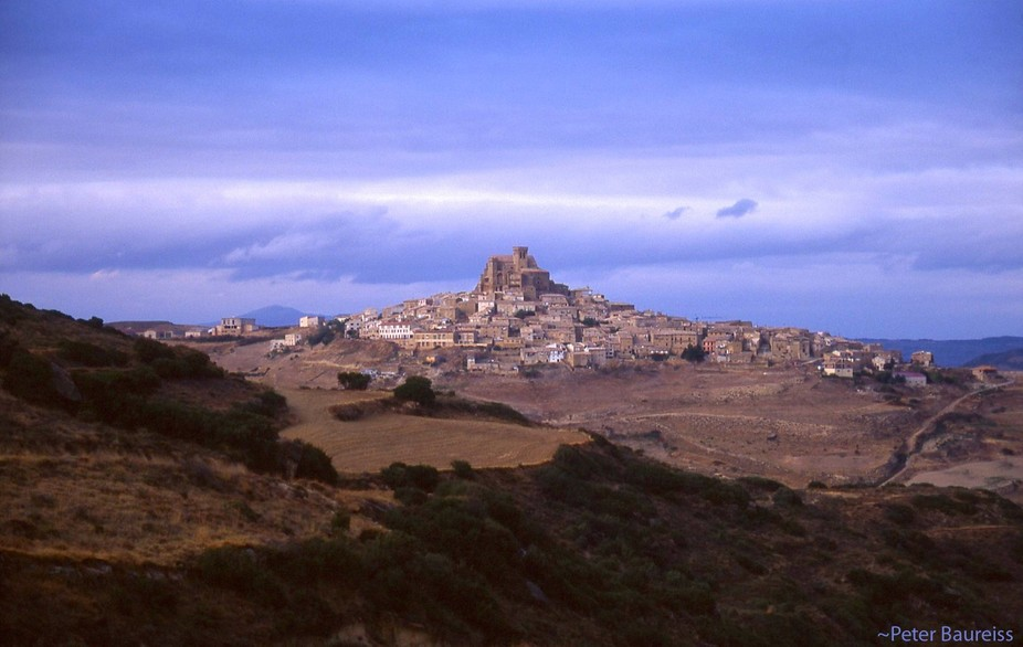"""A village built on the top of a mountain. Ujue (pronounced """"Ooch-way"""", Spain.  copyrigh..."""