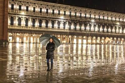 Rainy Venice Night in Italy