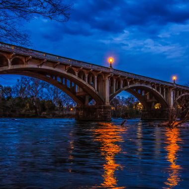This is the Gervais Street Bridge that connects West Columbia to Columbia, South Carolina.  It spans the Congaree River and is a beloved Columbia landmark.
