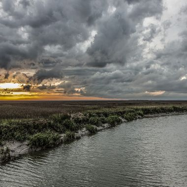 Tidal creek on Hunting Island, South Carolina after a late afternoon thunderstorm