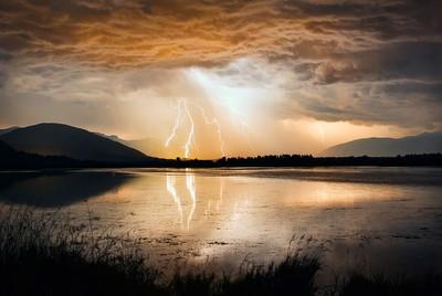 Lightning over the Creston Valley