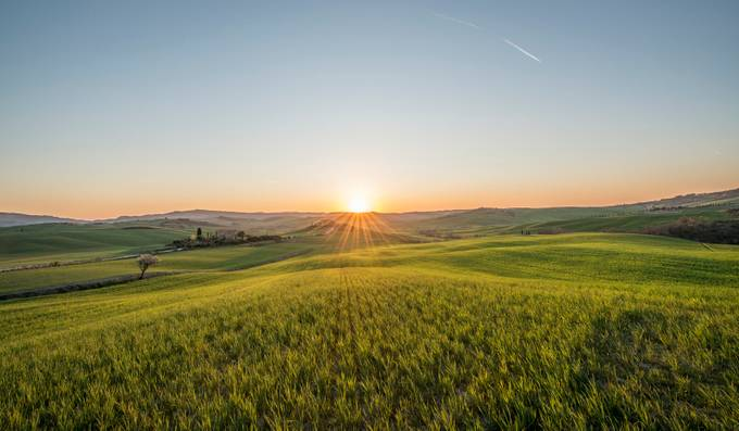 Sunset over the meadows of Tuscany by alekrivec - Lost In The Field Photo Contest