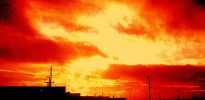 SPLASHY SUNRISE SEEN FROM CENTRAL SPAIN IN 1966
