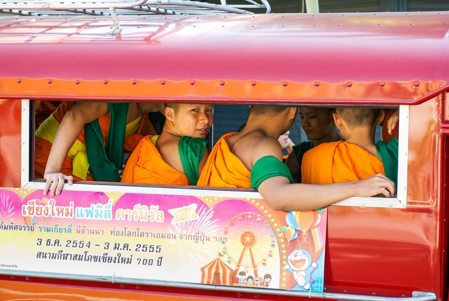 I\'ve always viewed monks in their colorful robes with an other worldly status.. yet this image pr...