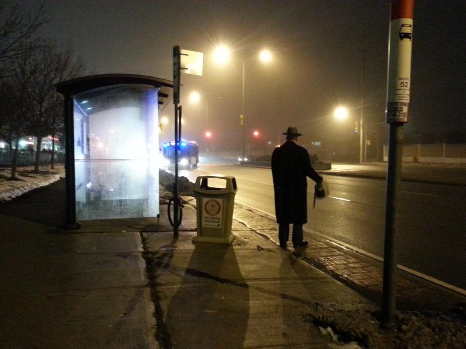 Man in Foggy night