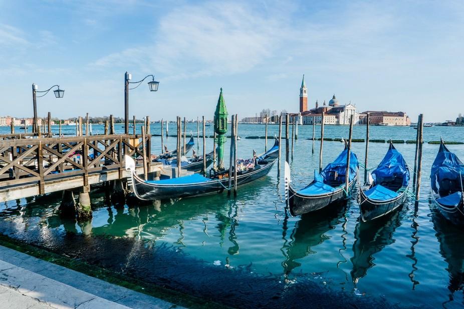 Blue Gondolas on the Venice Lagoon