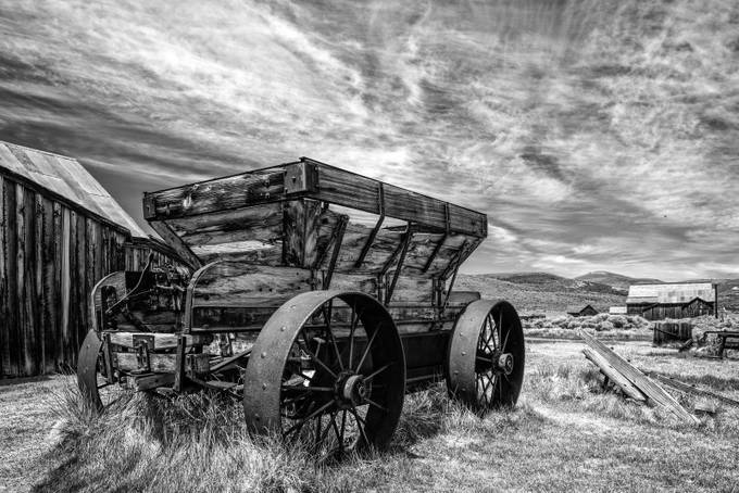Ore Wagon (Bodie) B&W by markcote - Textures In Black And White Photo Contest