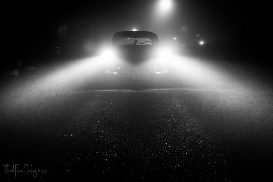 My old '56 Bel Air playing the dramatic role in a foggy Langley night