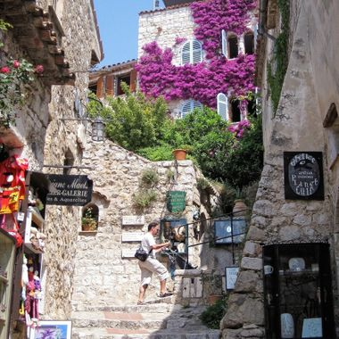 Negotiating a stone staircase in the quaint village of Ez in southern France, near Monaco