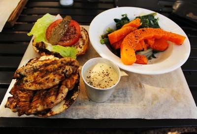 Chicken Burger and roast veg