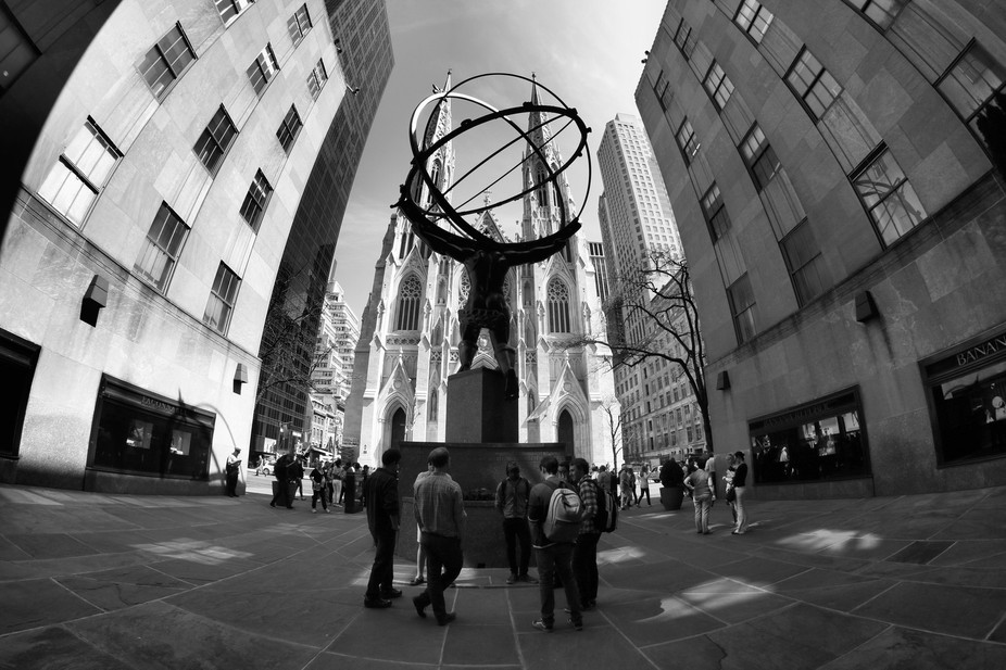 View on Atlas Statue and St. Patrick Cathedral on Fifth Avenue in New York City