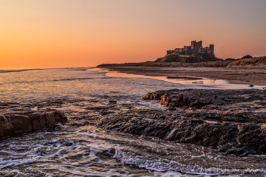 Bamburgh Castle taken at sunrise in early April