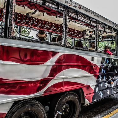This is one of Boston's famed Duck Boats.  The city of Boston has turned some World War II era surplus vehicles into one of the most recognizable attractions in all of America.