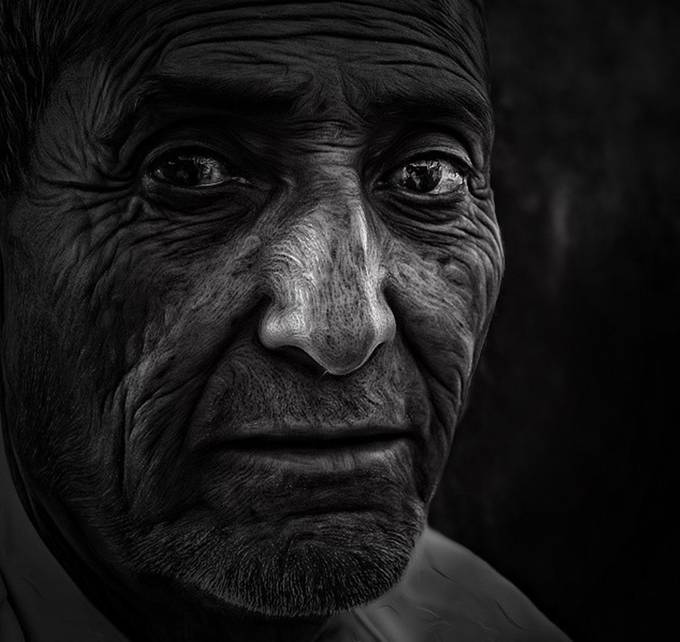 Old man by Aisha_m7md - Awesomeness In Black And White Photo Contest