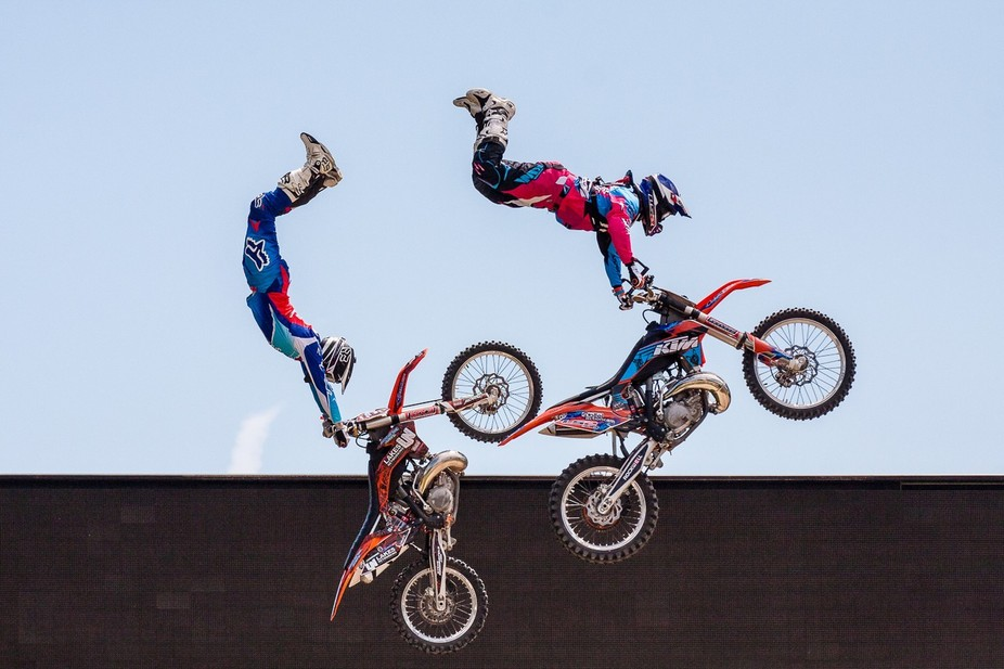 Taken  at the Goodwood Festival of Speed at the GAS Arena. These are 2 guys going up together abs...