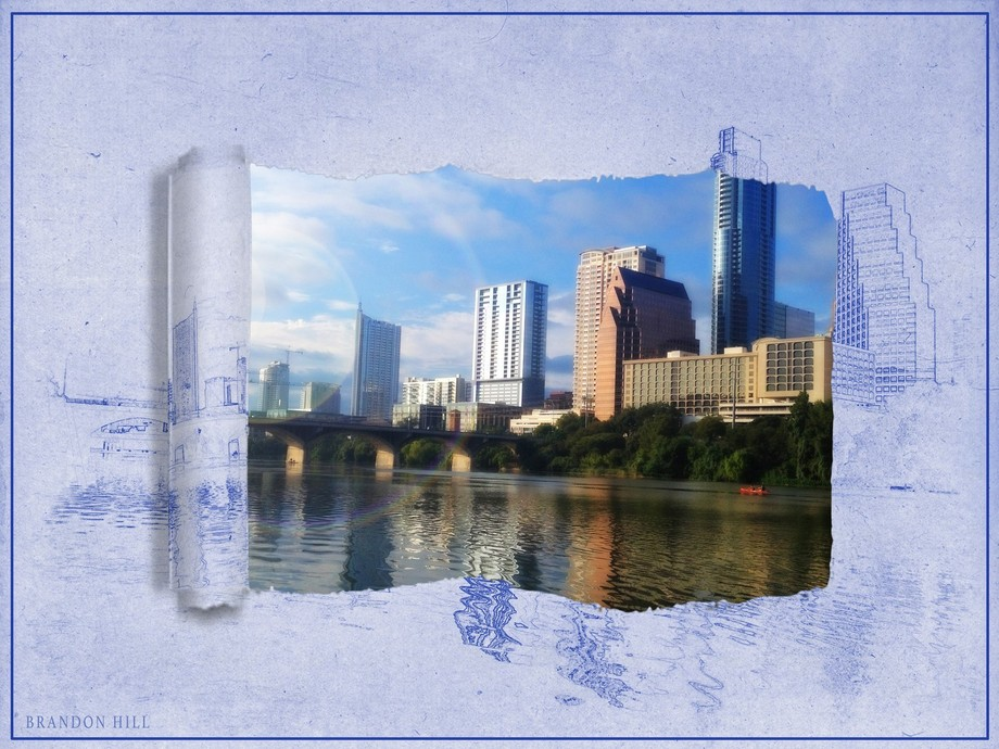 Blue Print of austin with rip