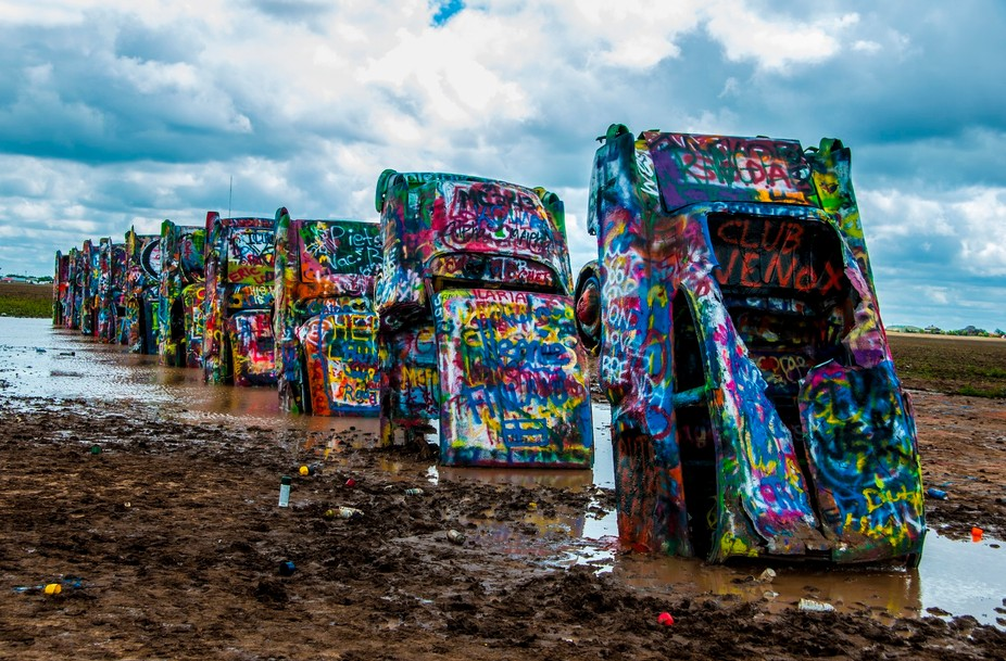 Cadillac Ranch after a mid-summer rainstorm