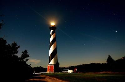 Hattaras Lighthouse by the light of the full moon