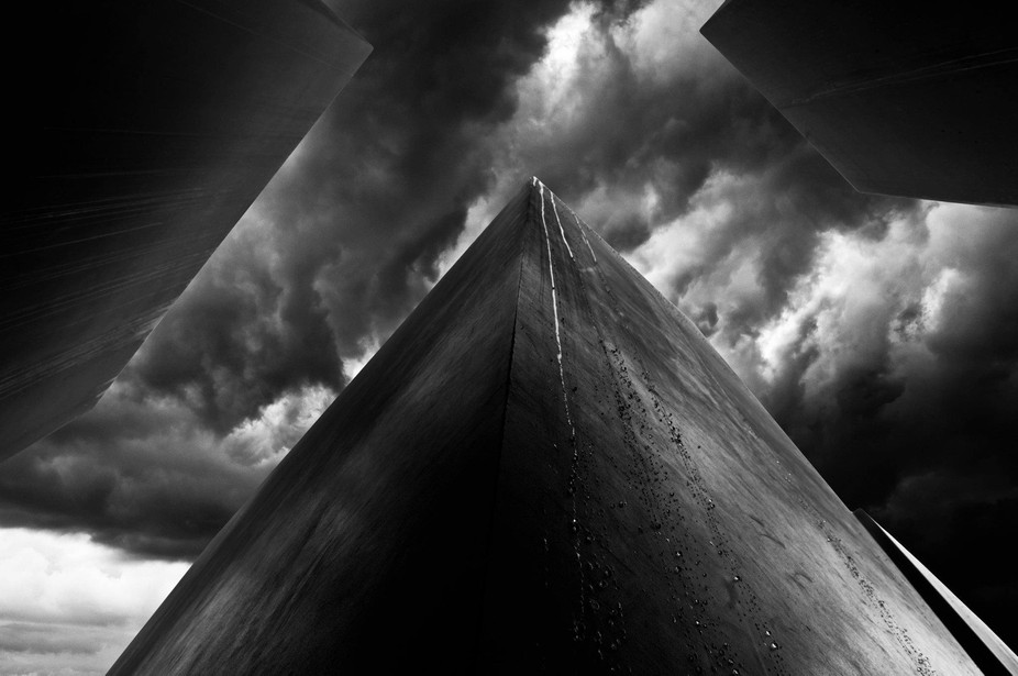 Holocaust Memorial in berlin when rain started to fall on the poles..