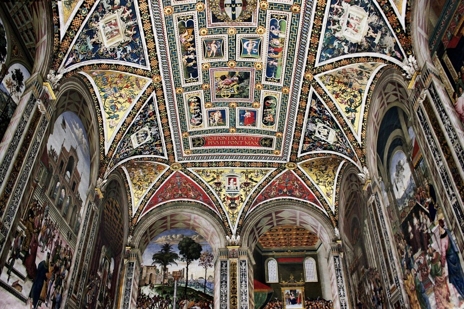 This is the ceiling of the library in the church of Siena, Italy. It is a small room, but so beau...