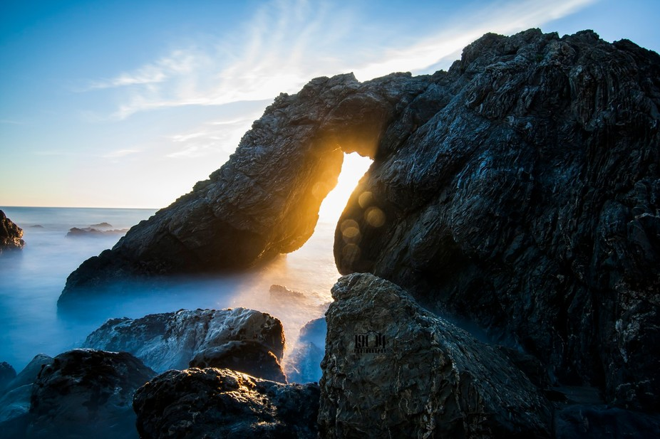 Just below the Kirk Creek Campground in Big Sur, there\'s an arch rock where the creek meets the P...