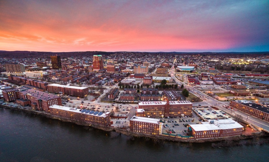 Aerial shot of Manchester, NH. Taken with a drone - DJI Inspire 1.