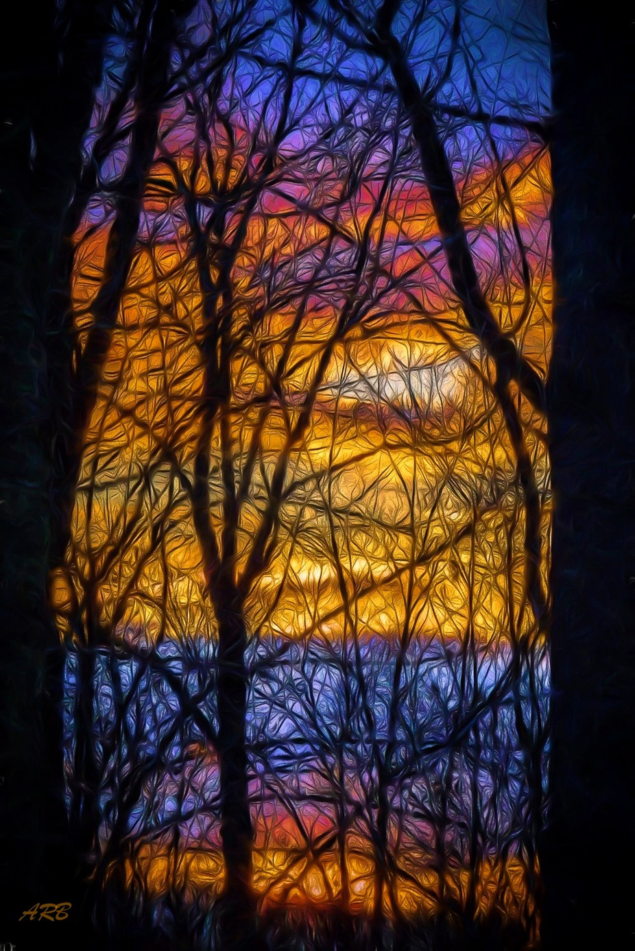 Stain Glass Sun Set