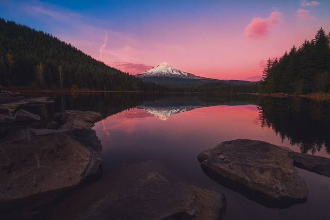 Mount Hood Reflections at Trillium Lake by skeetlebead - Lakes And Reflections Photo Contest