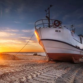 Fishing vessel at Thorup Strand in Denmark