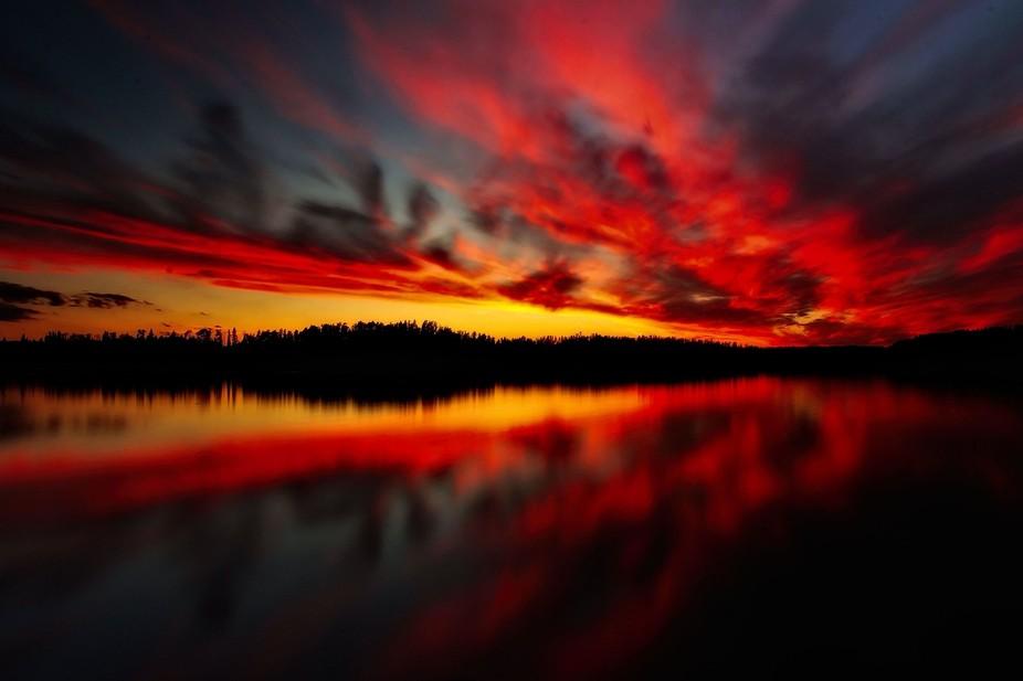 Sunset taken over Mcgillvery Lake, Whiteshell Park, Manitoba