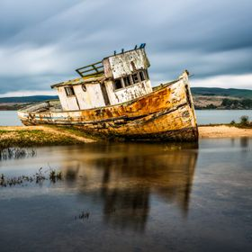Taken In the town of Inverness looking out towards Tomales Bay. This is an old fishing boat called Point Reyes.