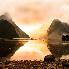 Absolute mesmerising sunset scenery Milford Sound NZ