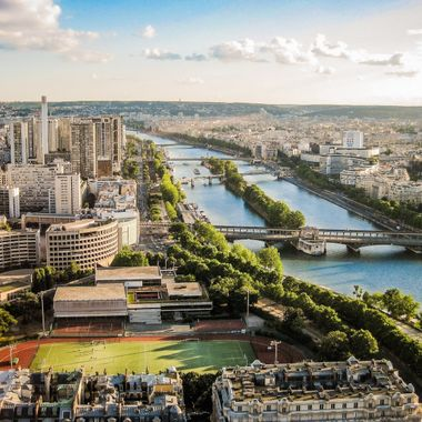 Paris and the Seine river from the top of the Eiffel Tower.