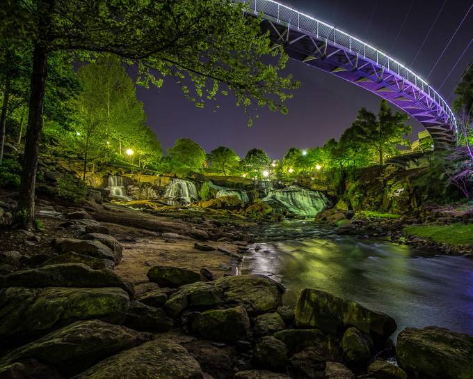 Falls Park and Liberty Bridge by trauflerphotography - Bridges In The Night Photo Contest