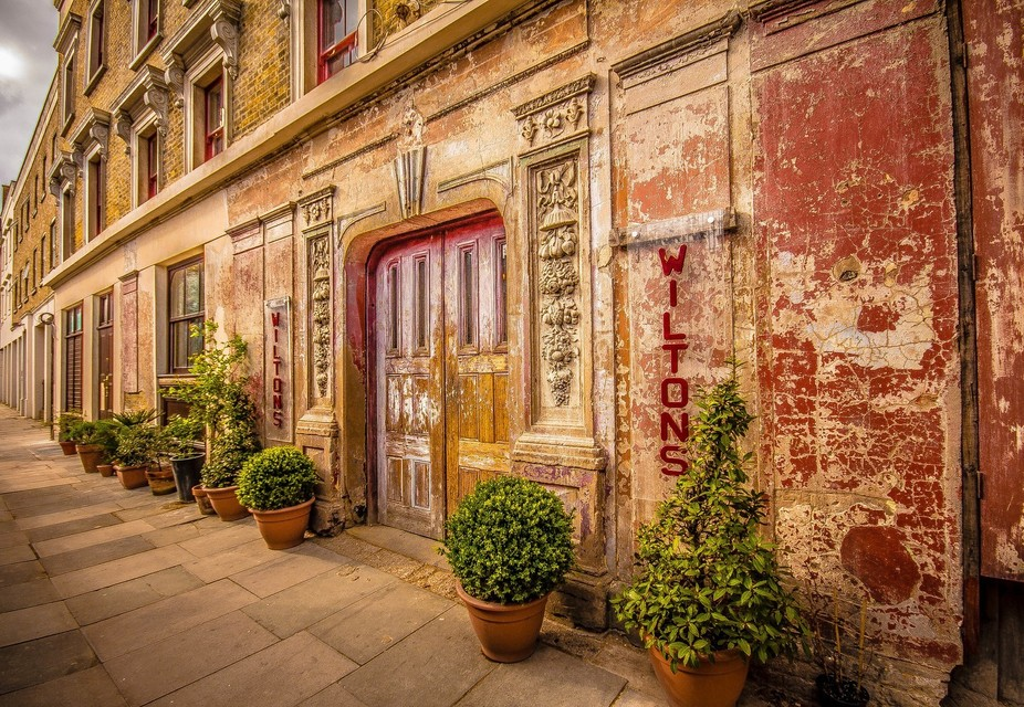 The entrance to the iconic Wilton\'s music hall in London. The famous building and entrance are ci...