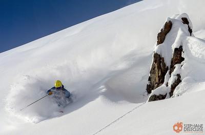 Skier in the fresh powder.