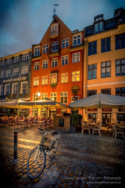 Denmark - Copenhagen - Bicycle in Nyhavn in the Morning