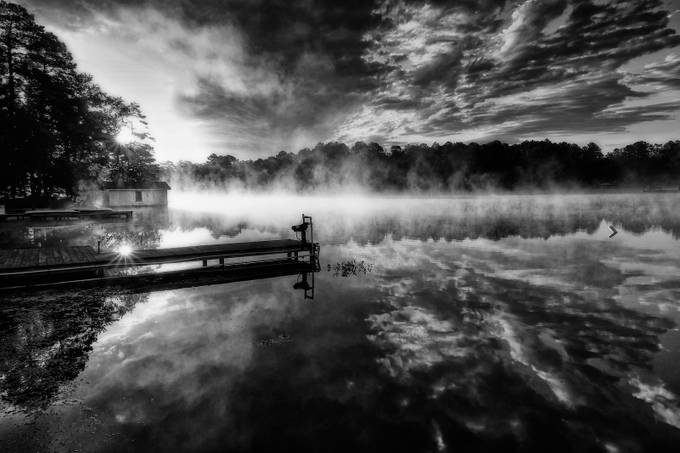 Shadowood Lake  by DGriffiths - Landscapes In Black And White Photo Contest