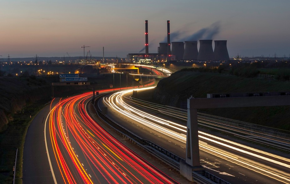 The motorway meets power station, West Yorkshire, England
