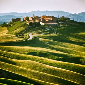 captured late in the afternoon. This village is located in Tuscany in an area called Crete. Characteristic for this region are the waves in the l...