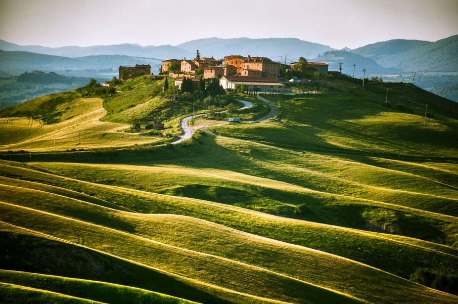 captured late in the afternoon. This village is located in Tuscany in an area called Crete. Chara...